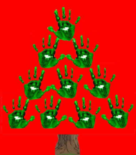 Lavoretti Di Natale Con Le Manine.Lavoretti Di Natale Albero Di Natale Con Impronte Mani