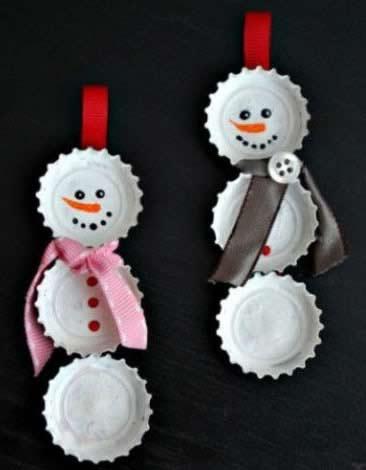 Lavoretti Di Natale Con I Tappi.Lavoretti Di Natale Pupazzi Di Neve Con Tappi